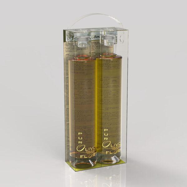 2 Botellas vidrio de 350ml arbequina y cornicabra