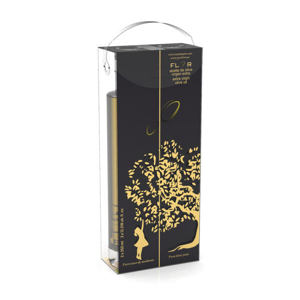 SET 2 Glass Bottles 350ml EVOO ARBEQUINA-EQUILIBRIO reverso